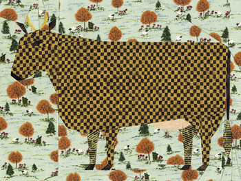 Folk Art Cow Paper Pieced Quilt Block Pattern