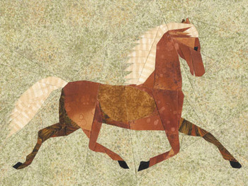 Folk Art Horse Paper Pieced Quilt Pattern