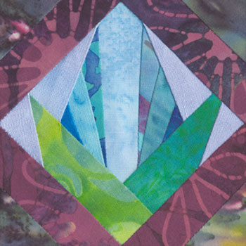 Framed Bromeliad Paper Pieced Quilt Block Pattern