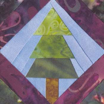 Framed Pine Tree Paper Pieced Quilt Block Pattern