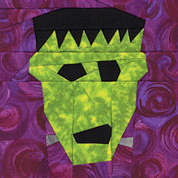 Frankenstein Paper Pieced Quilt Block Pattern