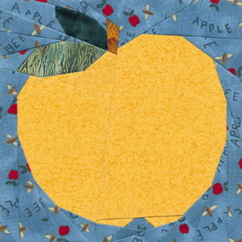 Golden Delicious Apple Paper Pieced Quilt Block Pattern