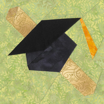 June Graduation Cap Paper Pieced Quilt Block Pattern