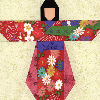 Kimono Girl Paper Pieced Quilt Block Pattern