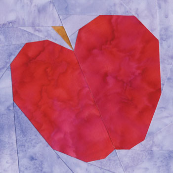 Red Gala Apple Paper Pieced Quilt Block Pattern