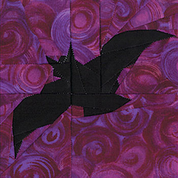 Vampire Bat Paper Pieced Quilt Block Pattern