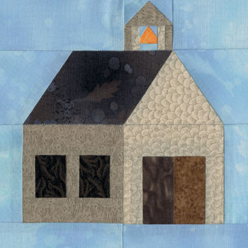 Village Schoolhouse Paper Pieced Quilt Block Pattern
