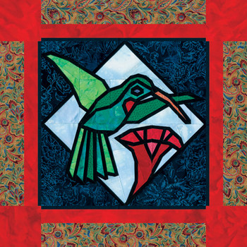 Stained Glass Fluttering Hummingbird Paper Pieced Quilt Pattern