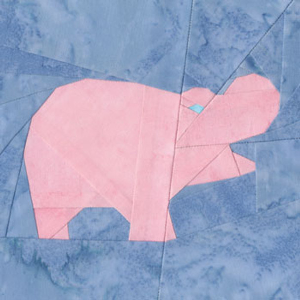 Hippo Paper Pieced Quilt Block Pattern