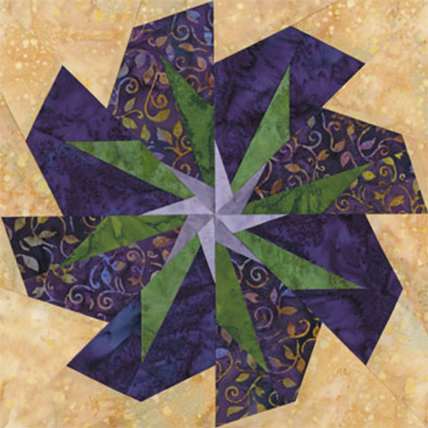 Jakarta Passion Flower Paper Pieced Quilt Block Pattern