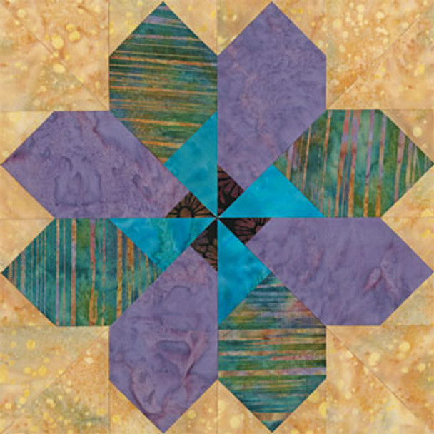 Lotus of Delhi Paper Pieced Quilt Block Pattern