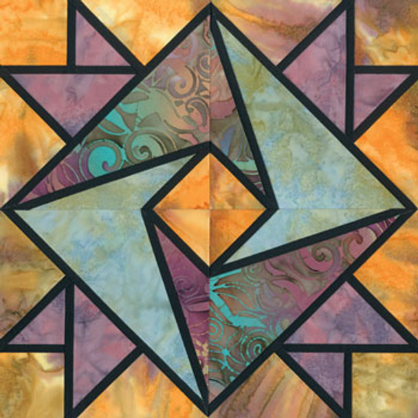 Stained Glass Clasped Hands Paper Pieced Quilt Block Pattern