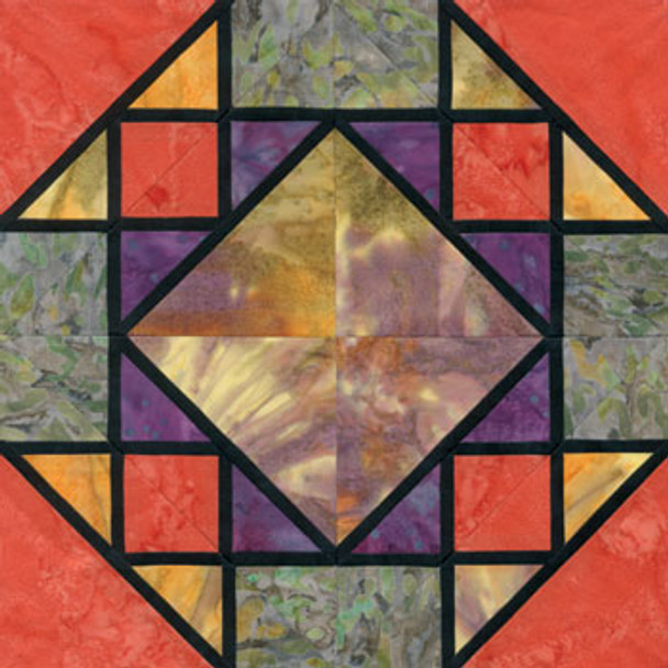 Stained Glass Corn and Beans Paper Pieced Quilt Block Pattern