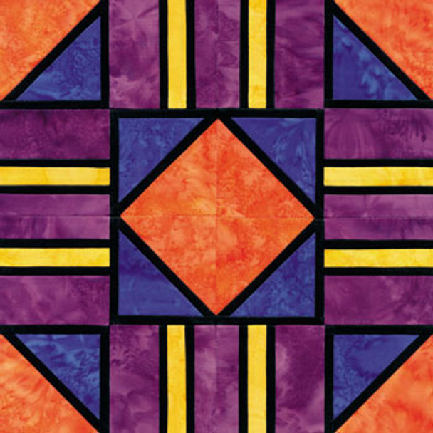 Stained Glass Cross Roads Paper Pieced Quilt Block Pattern