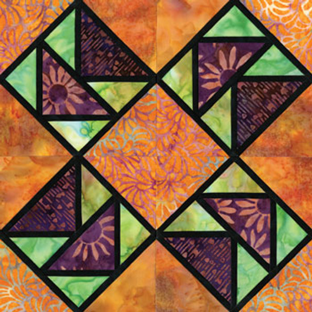 Stained Glass Dance of Flight Paper Pieced Quilt Block Pattern