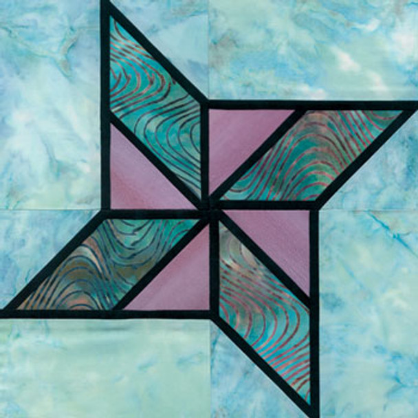 Stained Glass Double Star Paper Pieced Quilt Block Pattern
