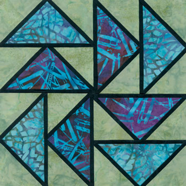 Stained Glass Dutchman's Puzzle Paper Pieced Quilt Block Pattern