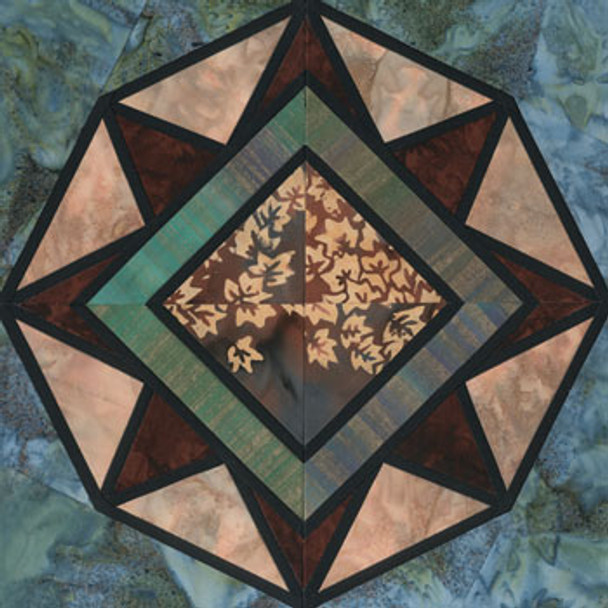 Stained Glass Festal Paper Pieced Quilt Block Pattern
