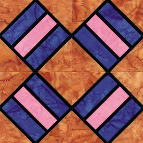 Stained Glass House That Jack Built Paper Pieced Quilt Block Pattern