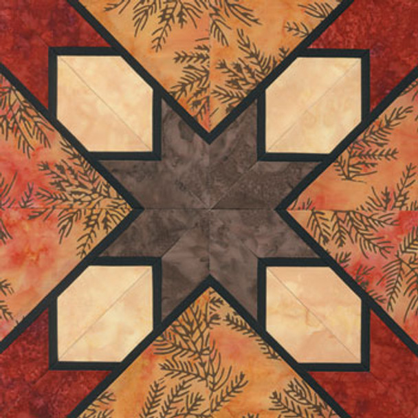 Stained Glass Hunter's Star Paper Pieced Quilt Block Pattern