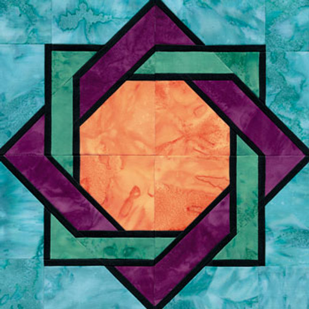 Stained Glass Interlocked Squares Paper Pieced Quilt Block Pattern