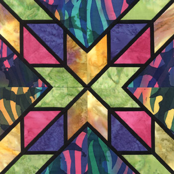 Stained Glass Liberty Star Paper Pieced Quilt Block Pattern