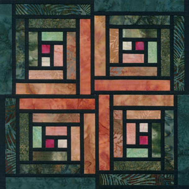 Stained Glass Log Cabin Paper Pieced Quilt Block Pattern