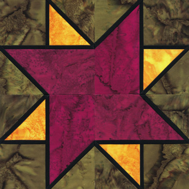 Stained Glass Newport Star Paper Pieced Quilt Block Pattern