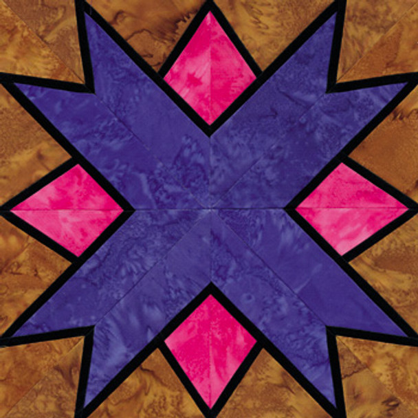 Stained Glass North Star Paper Pieced Quilt Block Pattern