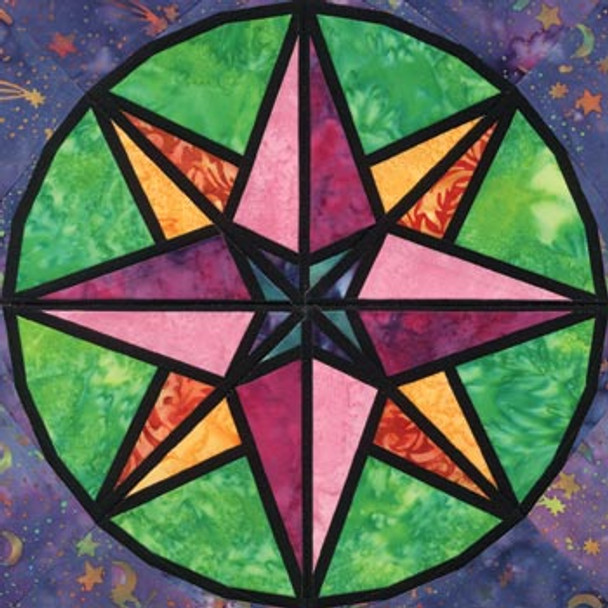 Stained Glass Northern Lights Paper Pieced Quilt Block Pattern