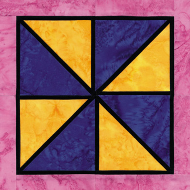 Stained Glass Pinwheel Paper Pieced Quilt Block Pattern