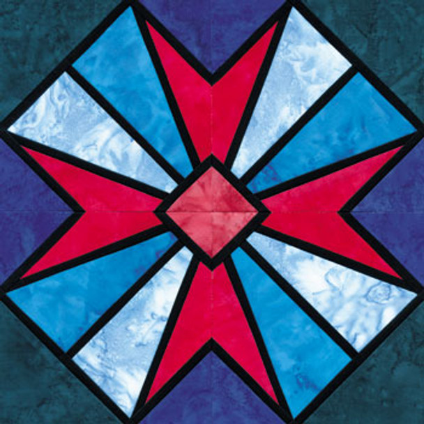 Stained Glass Qismah Paper Pieced Quilt Block Pattern