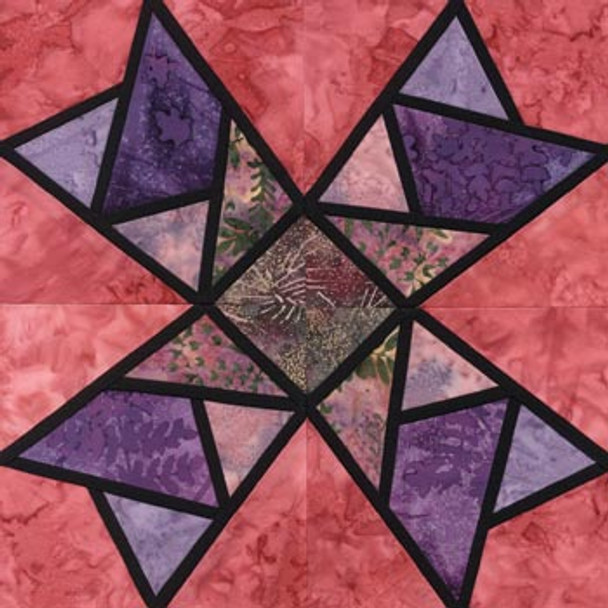 Stained Glass Quaker Windmill Paper Pieced Quilt Block Pattern