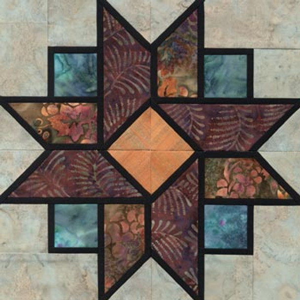 Stained Glass Queen's Crown Paper Pieced Quilt Block Pattern