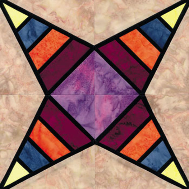 Stained Glass Radiating Amethyst Paper Pieced Quilt Block Pattern