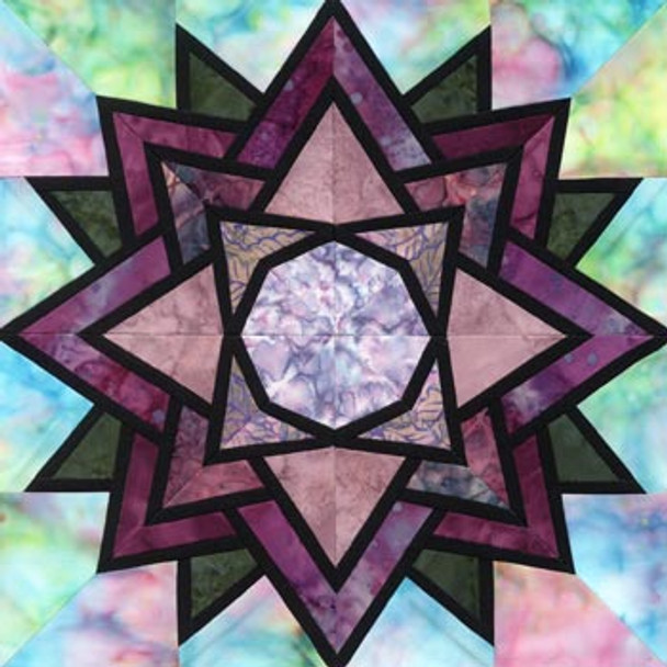 Stained Glass Waterlily Paper Pieced Quilt Block Pattern