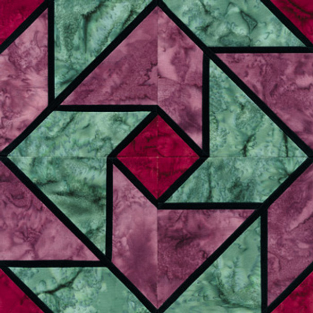 Stained Glass Whirlaround Paper Pieced Quilt Block Pattern