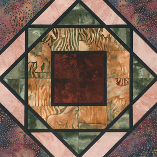 Stained Glass Zany Zoo Paper Pieced Quilt Block Pattern