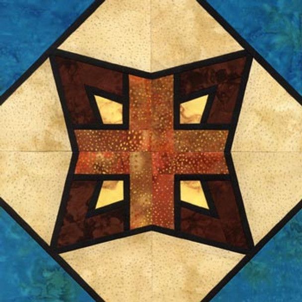 Stained Glass Zuni Star Paper Pieced Quilt Block Pattern
