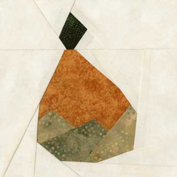 Baked Pear Paper Pieced Quilt Block Pattern
