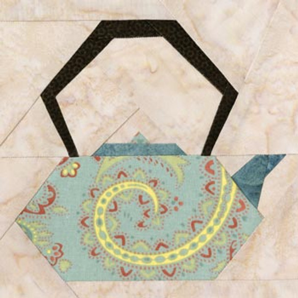 Chinese Teapot Paper Pieced Quilt Block Pattern