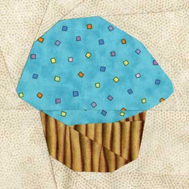 Iced Cupcake Paper Pieced Quilt Block Pattern