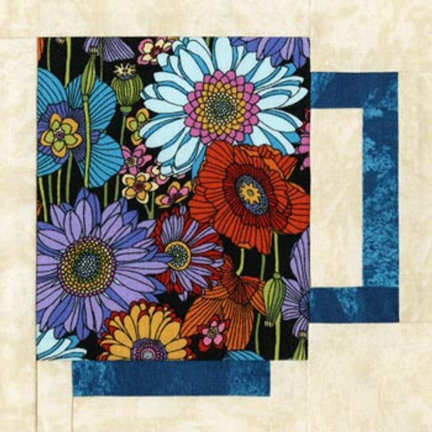 Modern Coffee Mug Paper Pieced Quilt Block Pattern