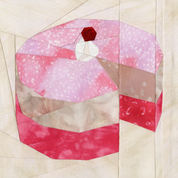 Strawberry Cheesecake Paper Pieced Quilt Block Pattern