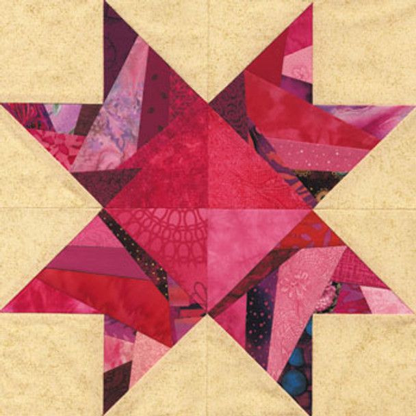 Crazy Blue Ridge Star Paper Pieced Quilt Block Pattern