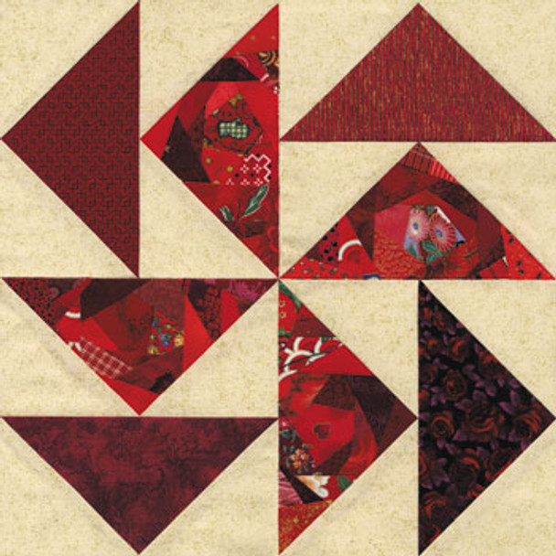 Crazy Dutchman's Puzzle Paper Pieced Quilt Block Pattern