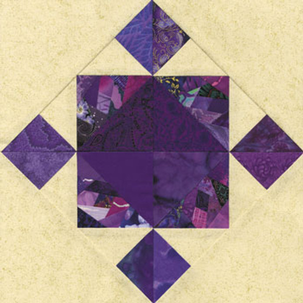 Crazy Japanese Iris Paper Pieced Quilt Block Pattern