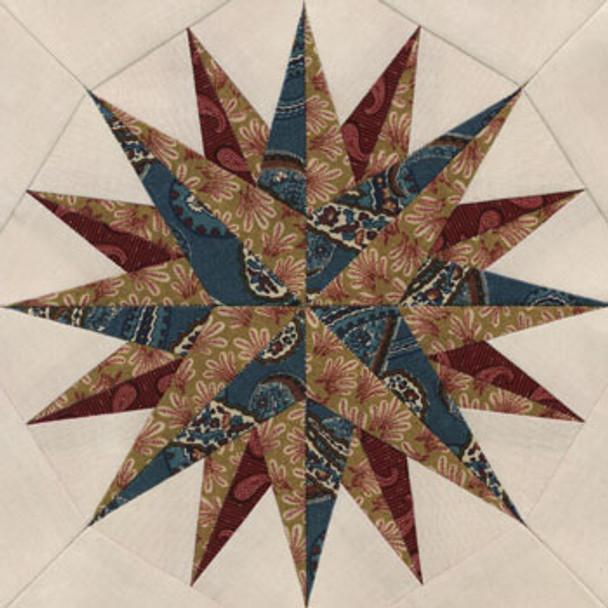 Newport Compass Paper Pieced Quilt Block Pattern