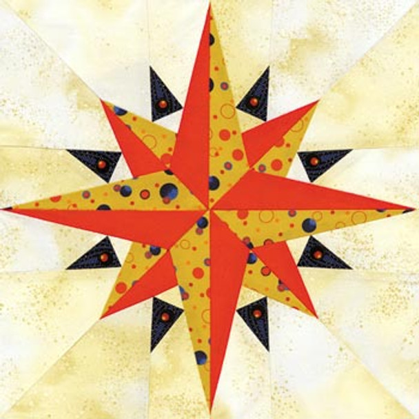 Sailor's Compass Paper Pieced Quilt Block Pattern