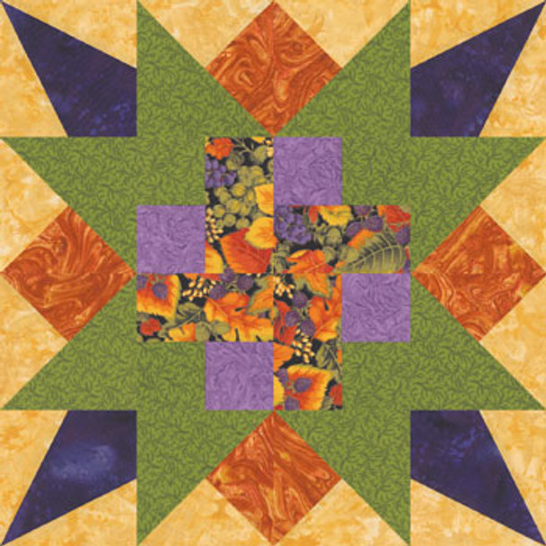 Star of Plenty Paper Pieced Quilt Block Pattern